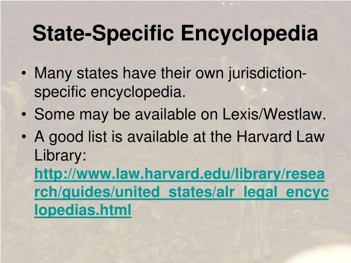 State-Specific Encyclopedia