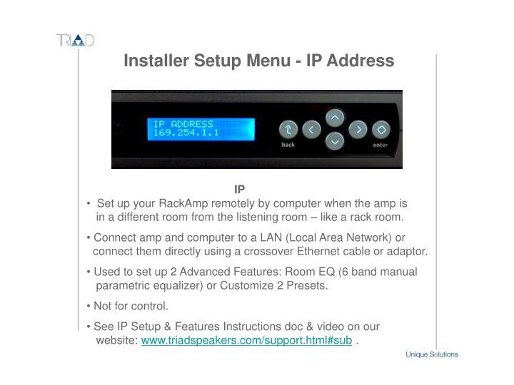 Installer Setup Menu - IP Address