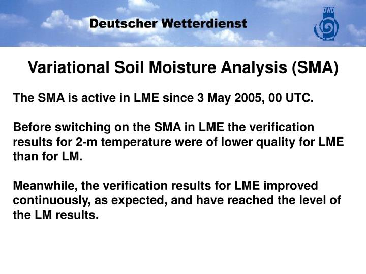 Variational Soil Moisture Analysis (SMA)