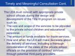 timely and meaningful consultation cont