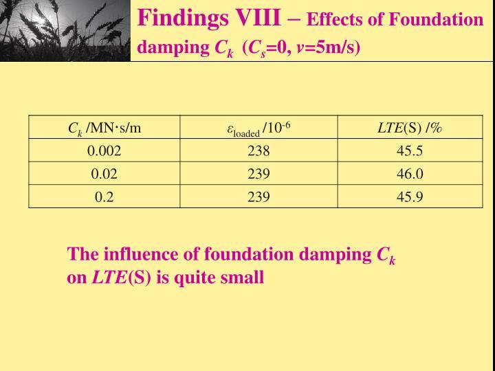 Findings VIII –