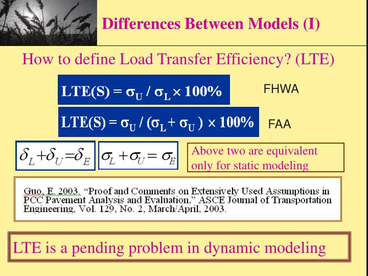 Differences Between Models (I)
