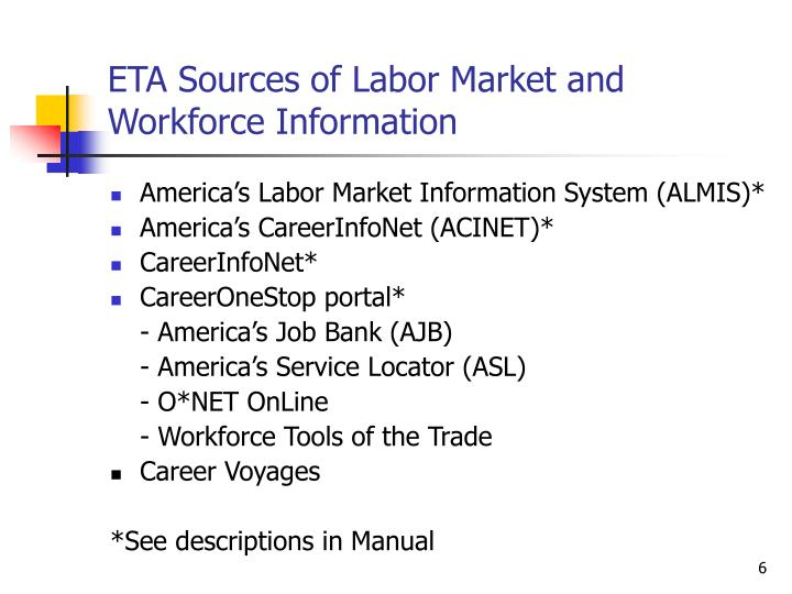 ETA Sources of Labor Market and Workforce Information