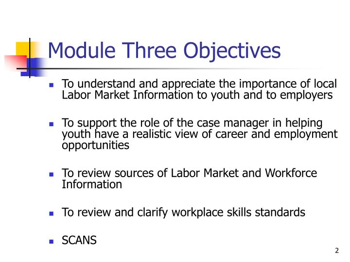 Module three objectives