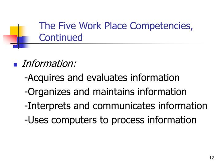 The Five Work Place Competencies,  Continued