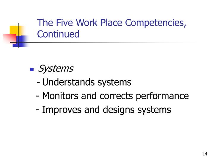The Five Work Place Competencies,