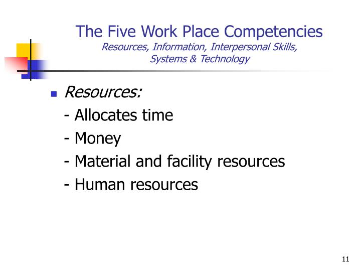 The Five Work Place Competencies