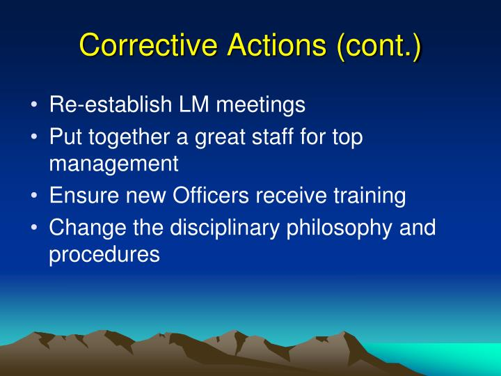 Corrective Actions (cont.)