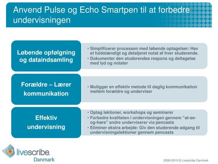 Anvend Pulse og Echo Smartpen til at forbedre undervisningen