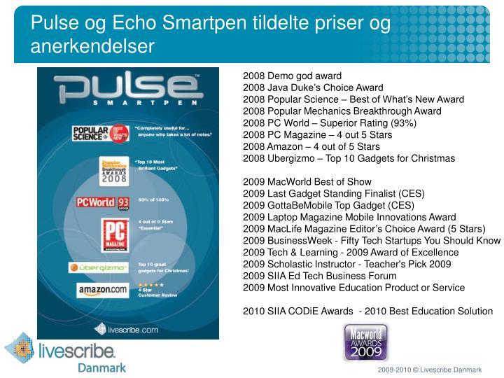 Pulse og Echo Smartpen tildelte priser og anerkendelser