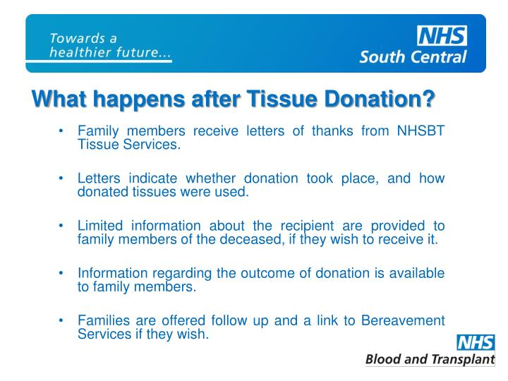 Family members receive letters of thanks from NHSBT Tissue Services.