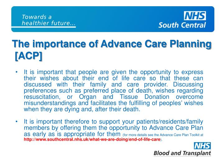 The importance of Advance Care Planning