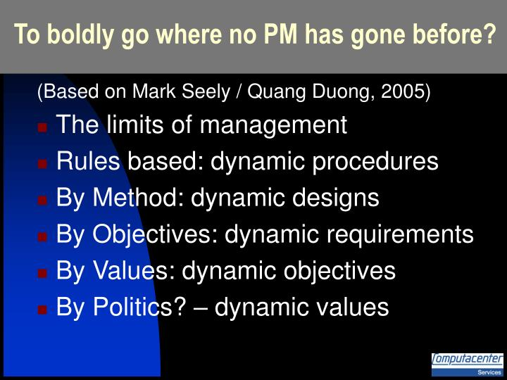 To boldly go where no PM has gone before?