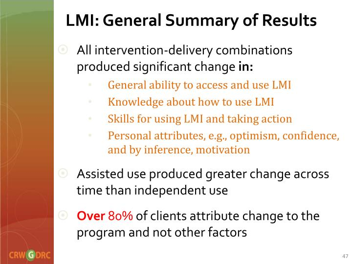 LMI: General Summary of Results