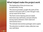 what helped make the project work