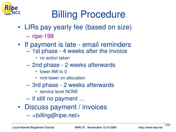 Billing Procedure