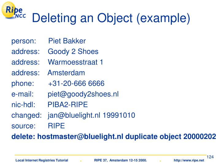 Deleting an Object (example)
