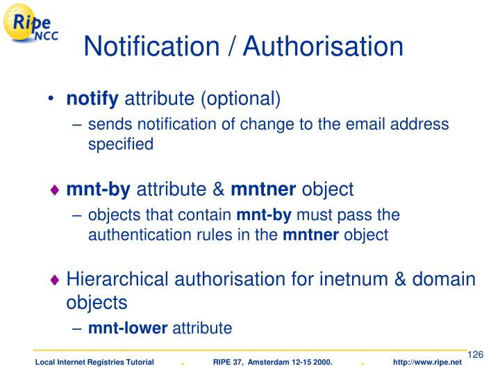 Notification / Authorisation