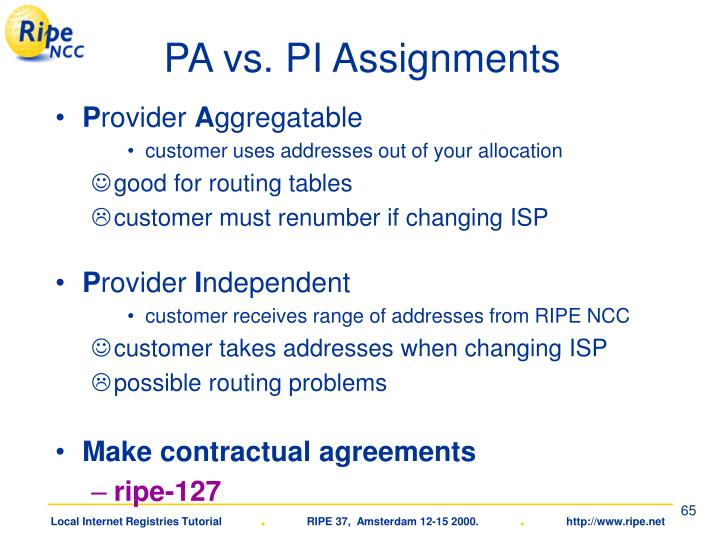 PA vs. PI Assignments