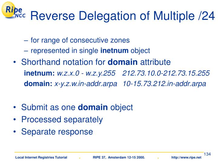 Reverse Delegation of Multiple /24