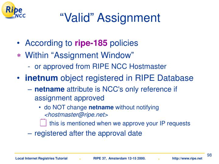 """Valid"" Assignment"