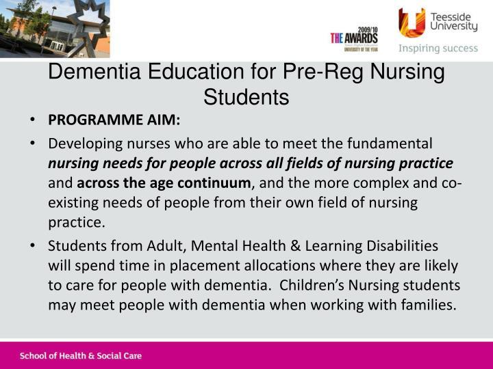 Dementia Education for Pre-Reg Nursing Students