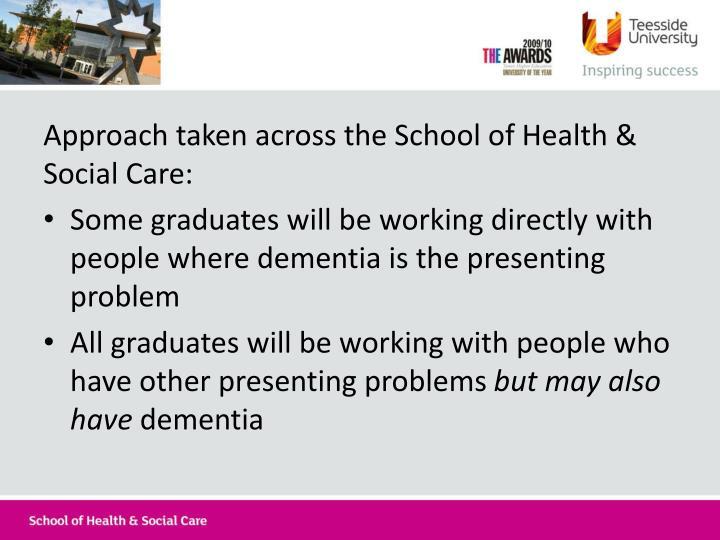 Approach taken across the School of Health & Social Care: