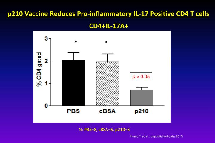 p210 Vaccine Reduces Pro-inflammatory IL-17 Positive CD4 T cells