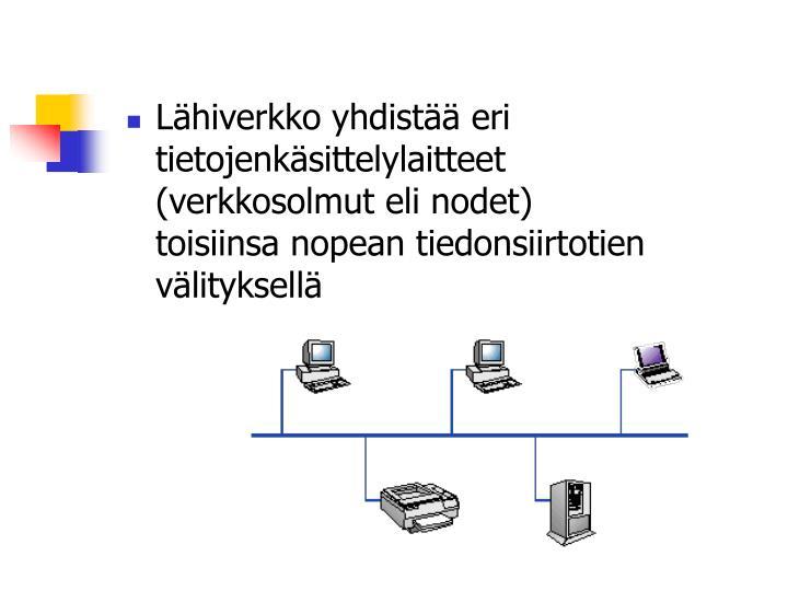 Lähiverkko yhdistää eri tietojenkäsittelylaitteet