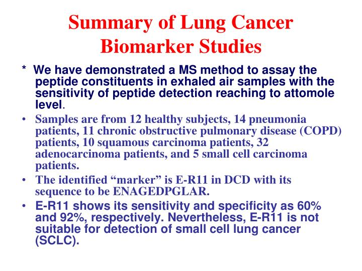 Summary of Lung Cancer Biomarker Studies
