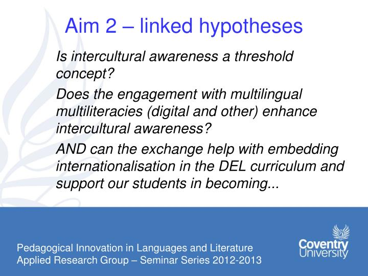 Aim 2 – linked hypotheses