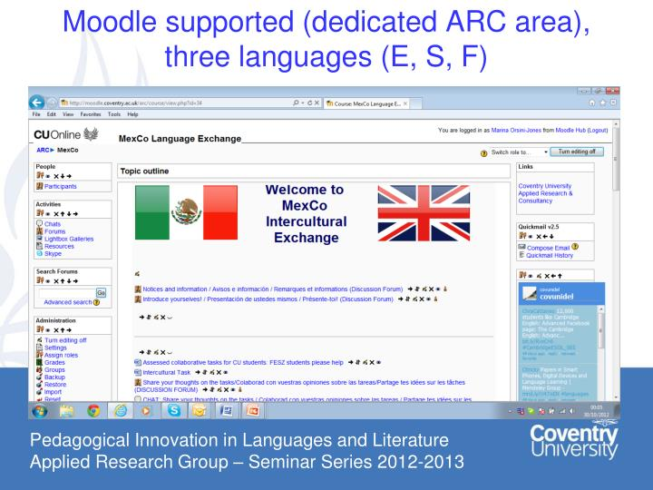 Moodle supported dedicated arc area three languages e s f