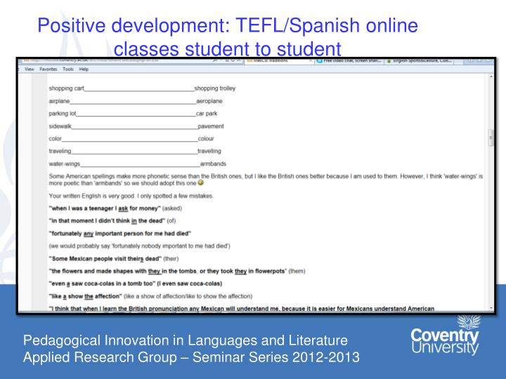 Positive development: TEFL/Spanish online classes student to student