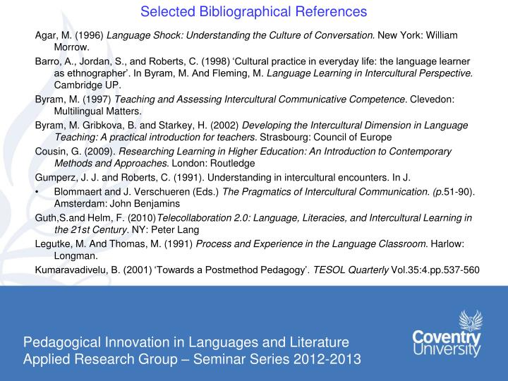Selected Bibliographical References