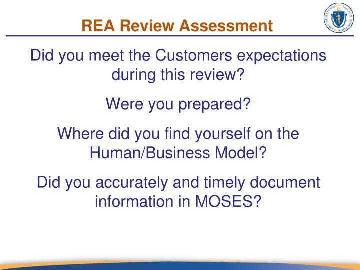 REA Review Assessment
