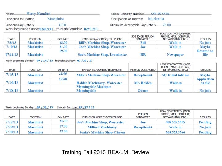 Training Fall 2013 REA/LMI Review
