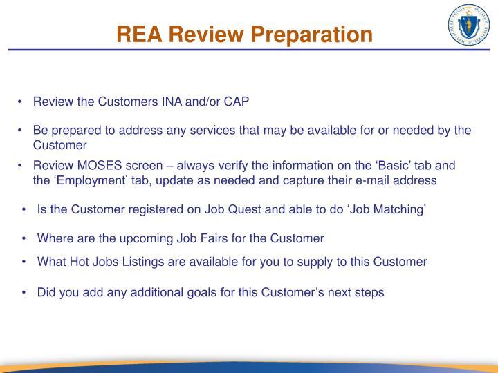 REA Review Preparation