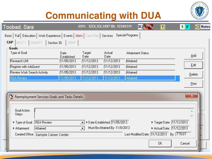 Communicating with DUA