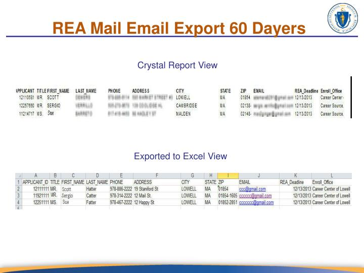 REA Mail Email Export 60 Dayers