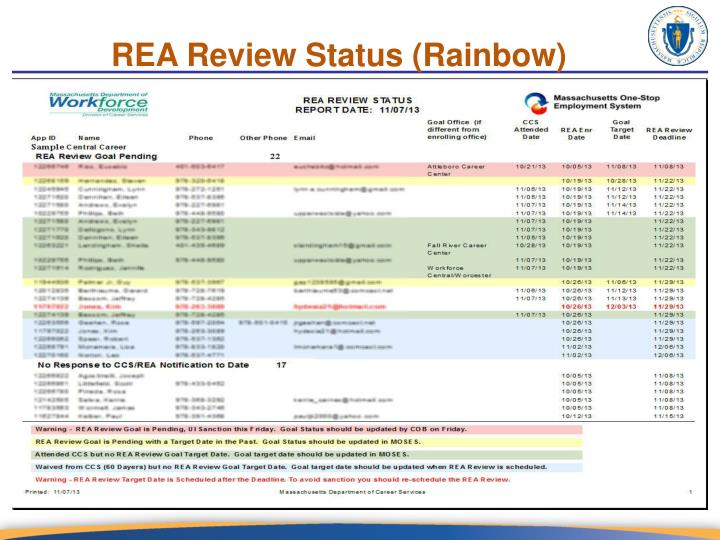 REA Review Status (Rainbow)