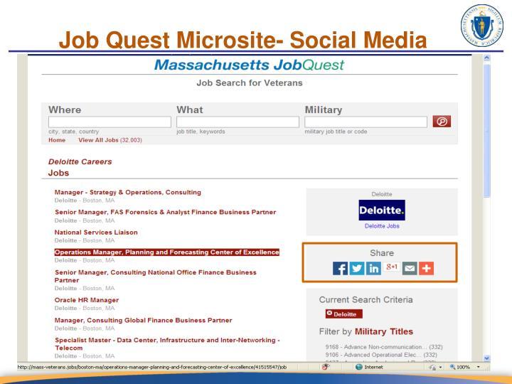 Job Quest Microsite- Social Media