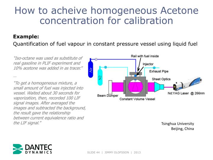 How to acheive homogeneous Acetone concentration for calibration
