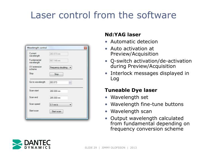 Laser control from the software