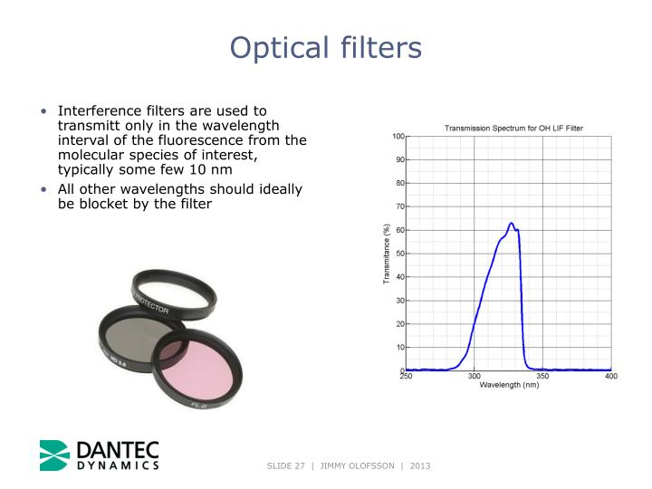 Interference filters are used to transmitt only in the wavelength interval of the fluorescence from the molecular species of interest, typically some few 10 nm