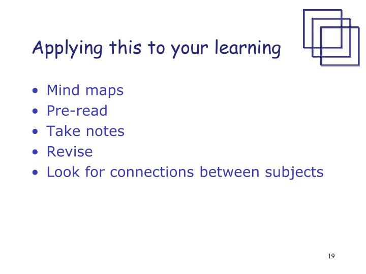 Applying this to your learning