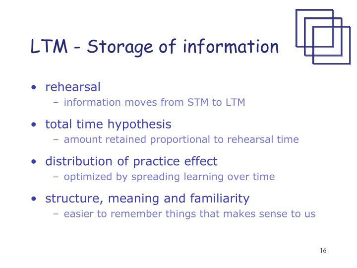 LTM - Storage of information
