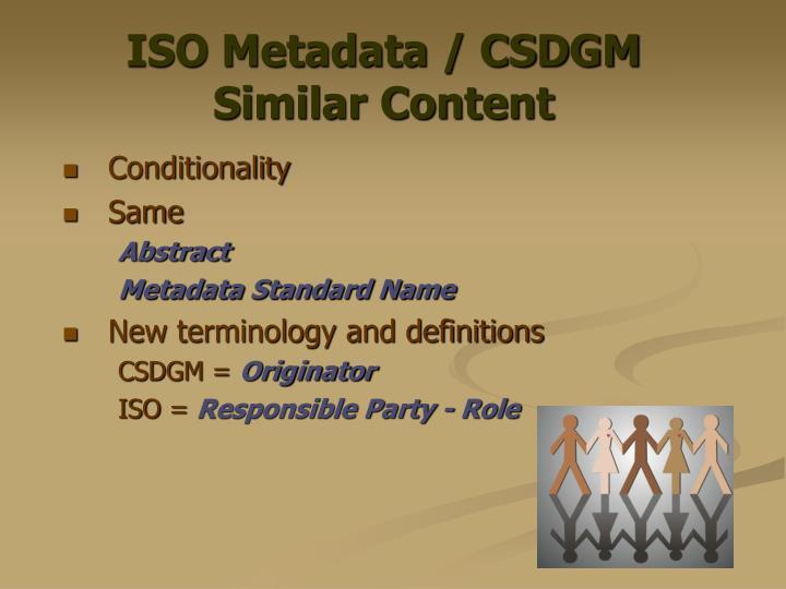 ISO Metadata / CSDGM Similar Content