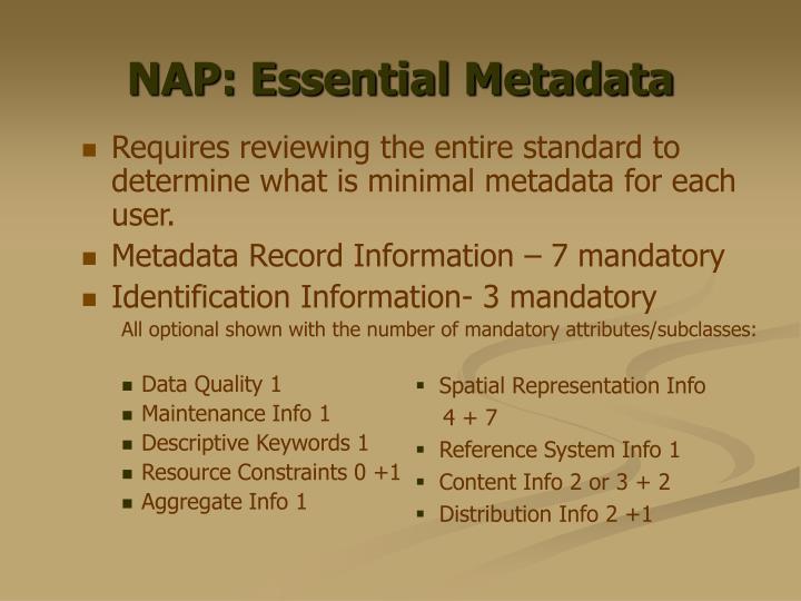 NAP: Essential Metadata