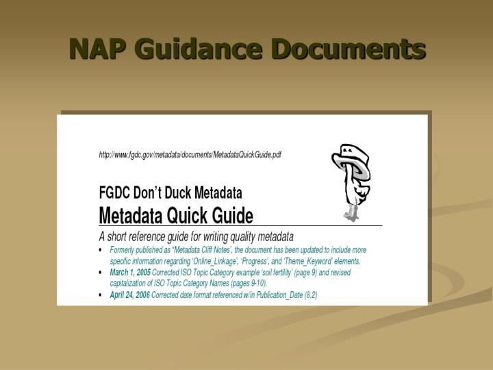 NAP Guidance Documents