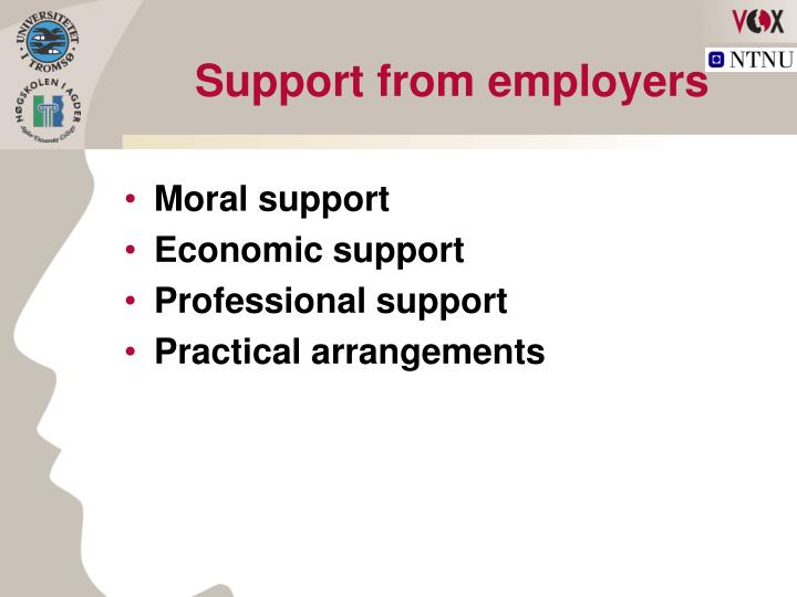 Support from employers